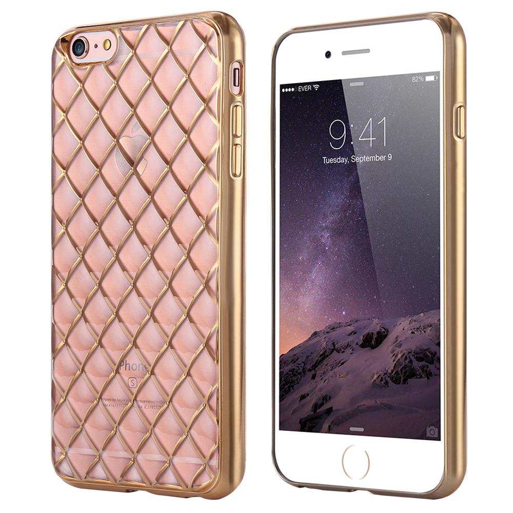 New Fashion Grid Pattern Soft TPU Case for iphone 6 6s Plating Flexible Clear Diamond Luxury Cover iphone6 4.7inch i6 Coque(China (Mainland))