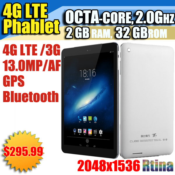 9.7 inch Octa Core Phablet PAD air Retina GPS 4G LTE Phone Tablet PC IPS Bluetooth 2G Ram 32G Rom Cube T9 Google Play Skype(China (Mainland))