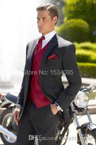 Top Selling - 2015 Suits Black Two buttons Peak Lapel Groom Tuxedos Groomsmen Men Wedding Best man (Jacket+Pants+Ves MEN SUITS FACTORY store