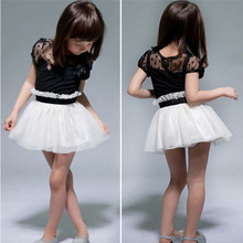 Retail Wholesale New Baby Kid Girls Princess Dresses Formal Party Tutu Child Lace Flower Gown Dress Black White 2-6Y(China (Mainland))
