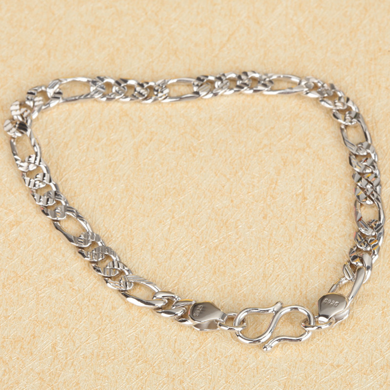 Free shipping Fashion brief silver car net snap bracelet 925 pure silver platier girlfriend birthday present gifts(China (Mainland))