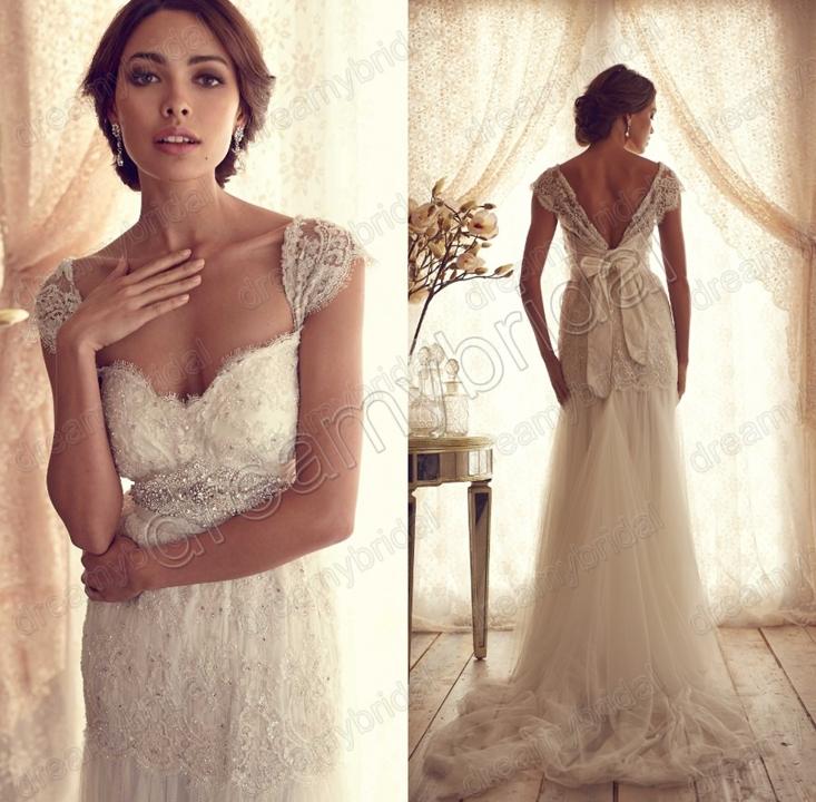 Sexy vestidos de noiva Backless Summer tulle Vintage ...