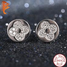 Buy BELAWANG 925 Sterling Silver Happiness Love Clover Stud Earrings Women Earings Austrian Crystal Earring Fashion Jewelry for $6.48 in AliExpress store