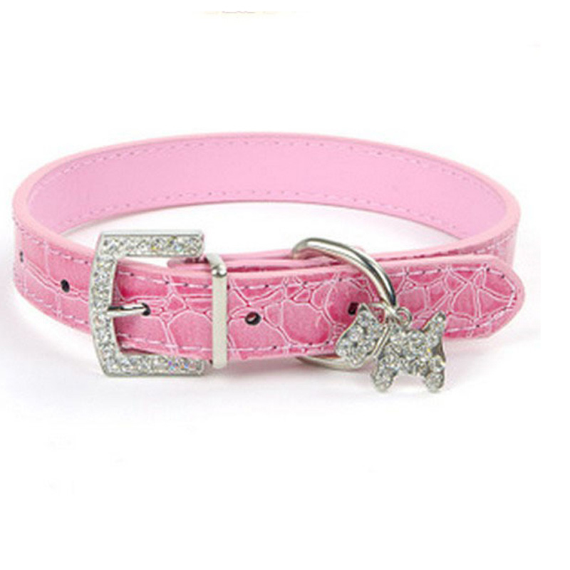 1PCS PU Leather Dog Collar Rhinestone Puppy Buckle Puppy Charm Pet Collars Small Dog Collars With 5 Colors Pet Accessories Dog(China (Mainland))