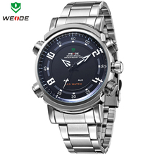 Marca WEIDE nuevo cuarzo de acero inoxidable completo alarma fecha día LED hora Dual iluminado de múltiples funciones Mens se divierte el reloj