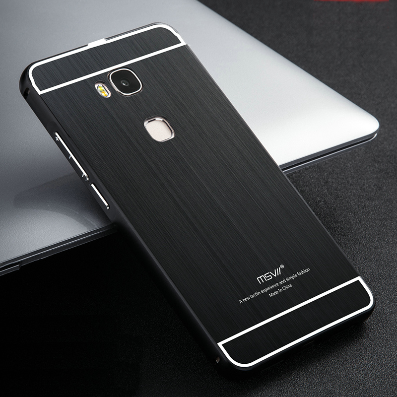 MSVII Brand Metal Case Brushed PC Back Cover & Aluminum Frame Phone Bag Cases for Huawei Honor 5X play / Honor5X(China (Mainland))
