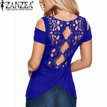 ZANZEA 2016 Summer Blusas Sexy Women Blouses Lace Crochet Short Sleeve Backless Off Shoulder Split Tops Blouse Shirt Plus Size(China (Mainland))