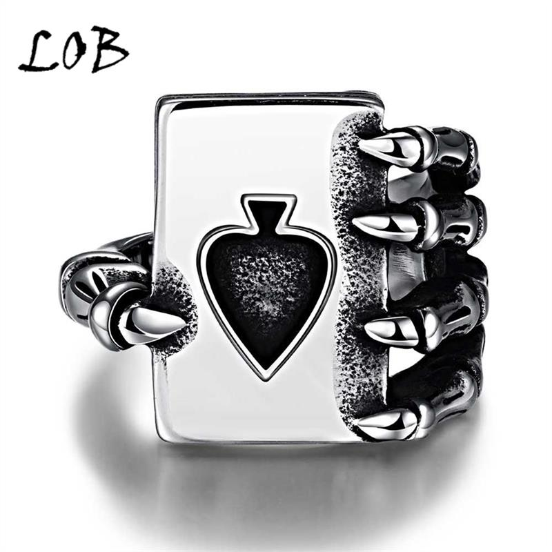 Men Jewelry 316L Stainless Steel Poker in Claw Rings Men's Punk Vintage Party Ring Jewelry For Man Wholesale R208(China (Mainland))