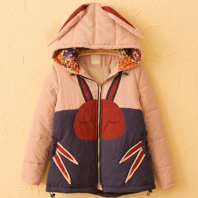 2017 new mori girl  Rabbit ears with a hood thickening cotton-padded jacket  winter women's