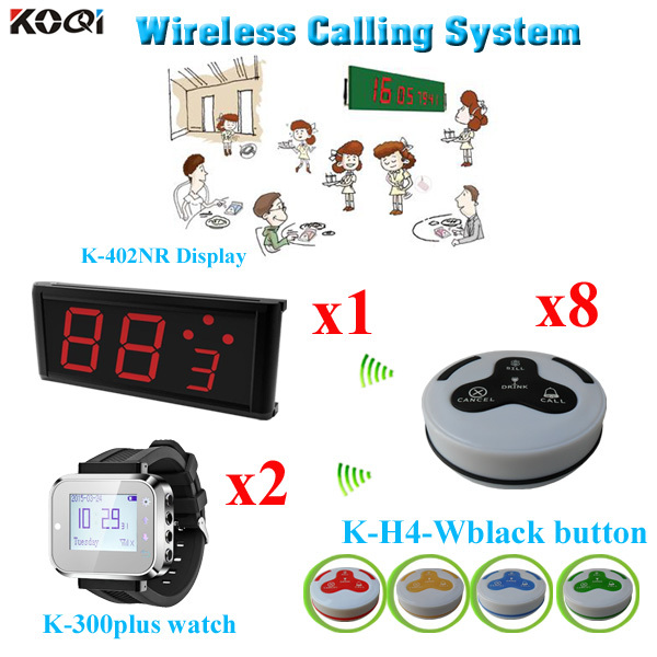 Calling System Automatic Personal Display K-402NR Western Wrist Watch K-300plus With Call Button(1 display+ 2 watch+8 button)(China (Mainland))