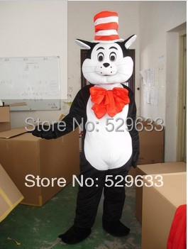 Adult The Cat in the Hat Dr. Seuss Mascot Costume Halloween Costumes Fancy Dress Suit Birthday Party BUSINESS MASK Free Shipping()