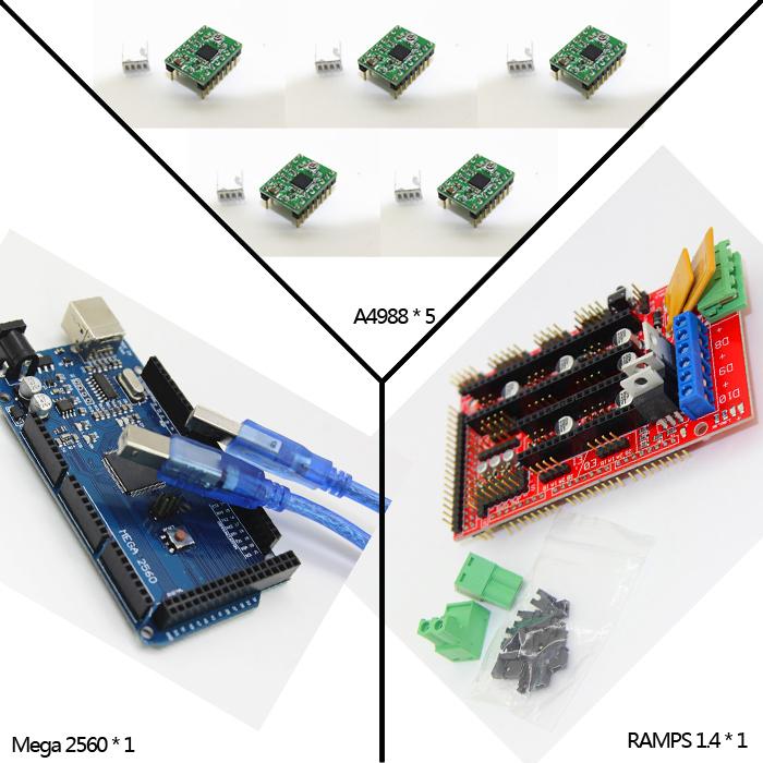 Гаджет  1pcs RAMPS 1.4 Controller + 5pcs A4988 Stepper Driver Module+1pcs Mega 2560 R3 for 3D Printer kit Reprap MendelPrusa None Электронные компоненты и материалы