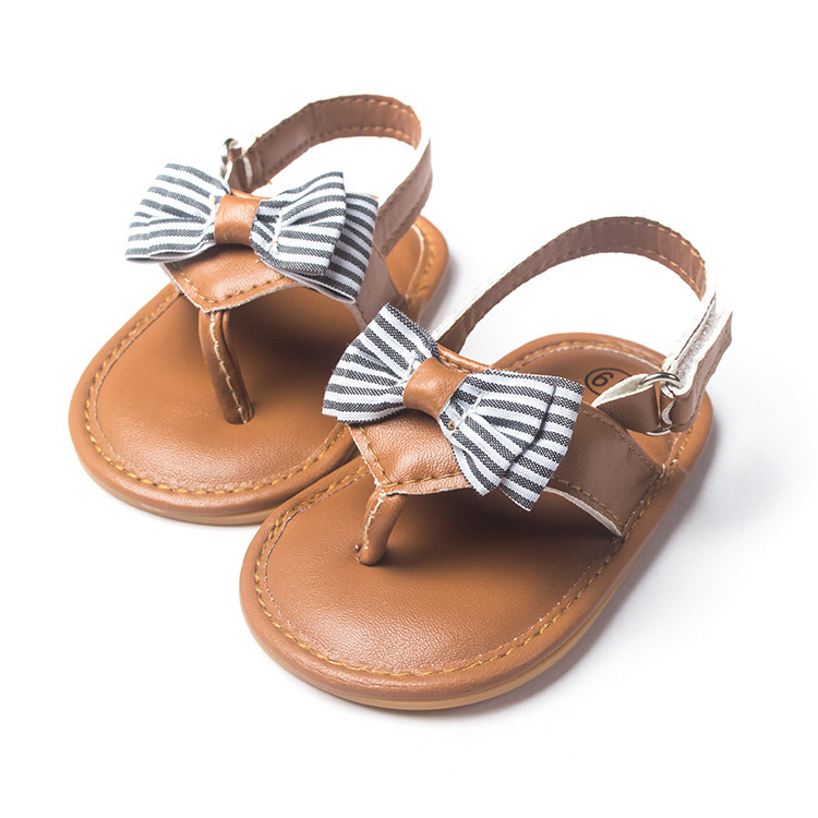 New Summer Style PU Leather Sweet Newborn Baby Outdoor Sandals Infant Princess Girls Bow Soft Cow Muscle Soled Anti-slip Thongs(China (Mainland))