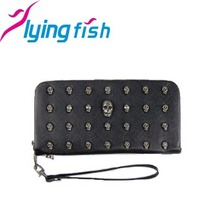New 2015 Black Punk Skull Wallets for Women Girls Designer Purses Handbags for Money Coin Card Places Halloween Clutches BA128(China (Mainland))