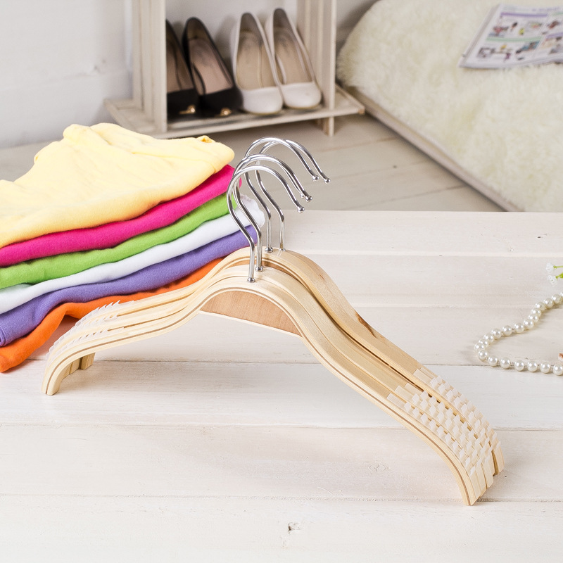 10 pcs natrual color wooden hanger anti slips clips flat style clothes hangers best closet organizers to save much space(China (Mainland))