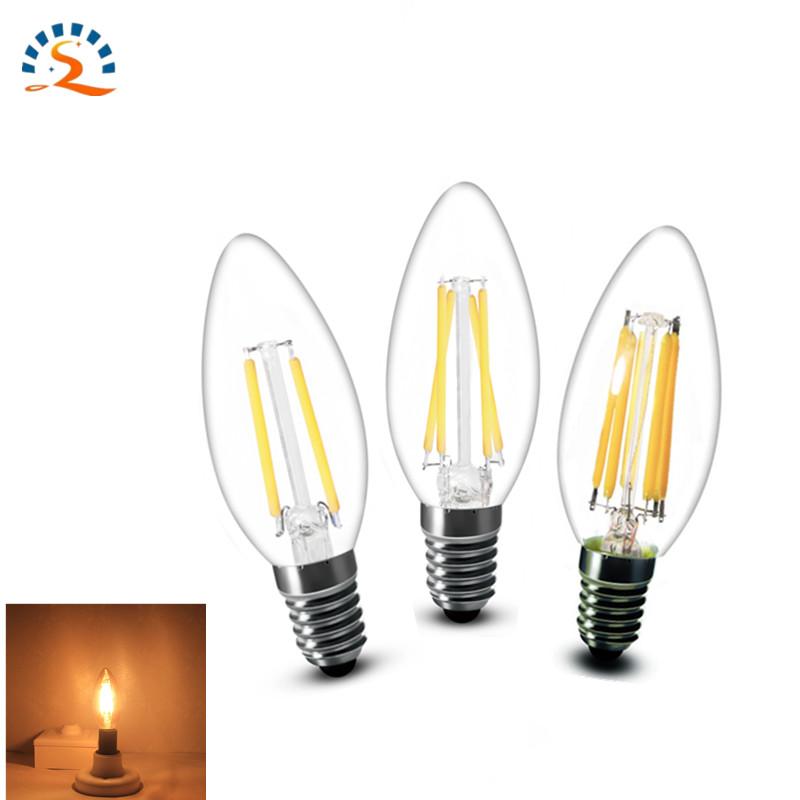 10pcs/lot Led Filemant Candle Lamp 2w 4w 6w E14 C35 B10 AC220V Edison Bulb Retro Antique Vintage Style Warm White LED Glass Bulb(China (Mainland))
