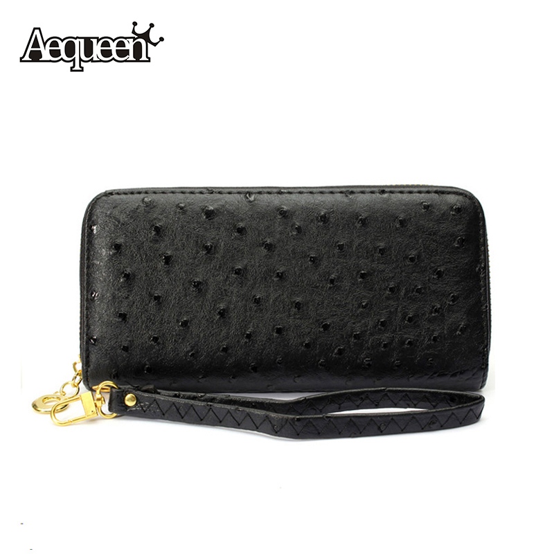 Women Wallets Brand New 2015 Ostrich Grain Long Design Purses Leather Multi-Card Position Lady Zipper Wallet Phone Bag Fashion(China (Mainland))