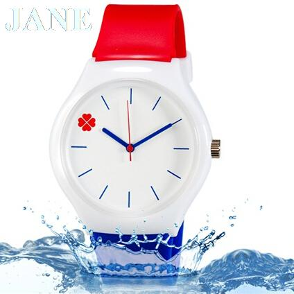 Willis fashion watch casual watch Four Leaf Clover Design Water Resistant Wrist Watch with Silicone Band(China (Mainland))
