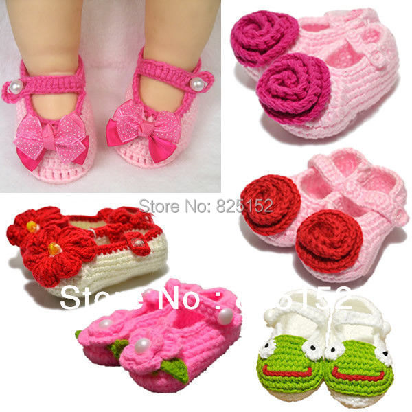 Free Shipping 1 Pair Newborn Infant Baby Girl Handmade Crochet Knitted Flower Socks Shoes Foot Wear Accessories First Walkers(China (Mainland))