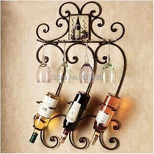 Different colors fashion wine bottle holder wrought iron wall hanging wine rack bar wine glass holder(China (Mainland))