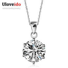 Hot New 2014 Unique Gift for Women,Simulated Diamond Colar,925 Sterling Silver Charm Pingentes,Rhinestone Necklace Pendants N321(China (Mainland))