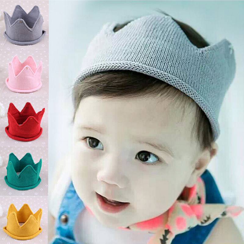 Crown Baby Girl Boy Hats Solid Color Lovely Diamond Toddler Caps Woolen Yarn Knitted Infant Cap For Bab Handmade baby Caps(China (Mainland))