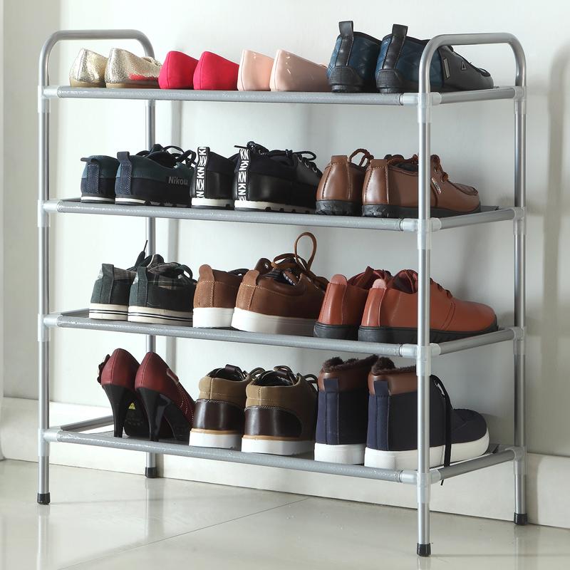 Fashion widening simple carbon steel pipe racks storage rack four layers shoe debris woven waterproof<br><br>Aliexpress