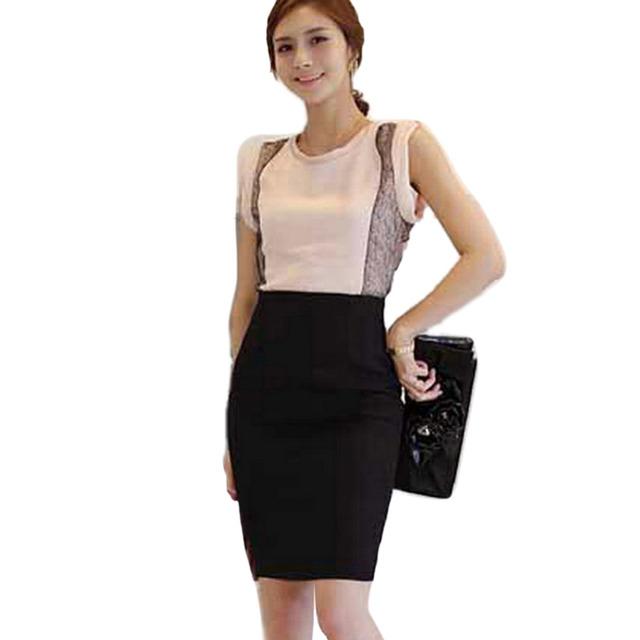 Мода женщин тонкий встроенная колен прямо карандаш миди юбка высокая талия пр карьера юбки