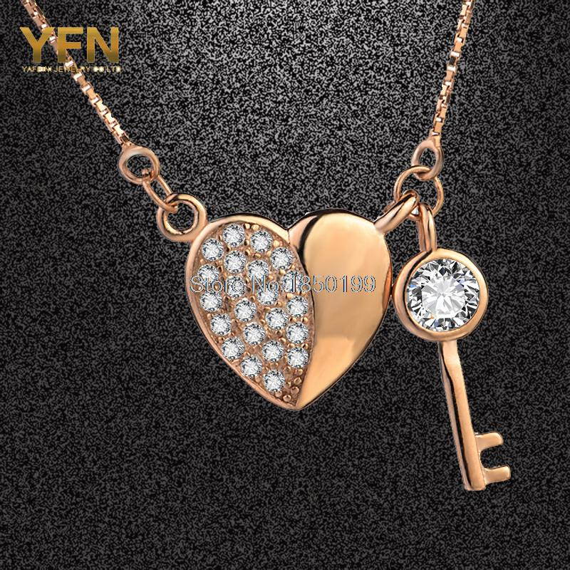 Wholesale GNX0447-M 925 Sterling Silver Jewelry Heart & Key Pendant Necklace Fashion Rose Gold Plated Chain Necklace For Women(China (Mainland))