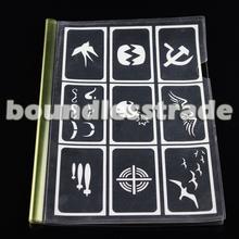 OPHIR 100pcs Airbrushing Template Tattoo Stencils Art Design Patterns Set _TA094(China (Mainland))