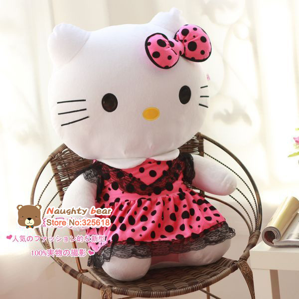 the stuffed lovely hello kitty toys plush big cat doll perfect gift rose spot coat kitty about 45cm(China (Mainland))