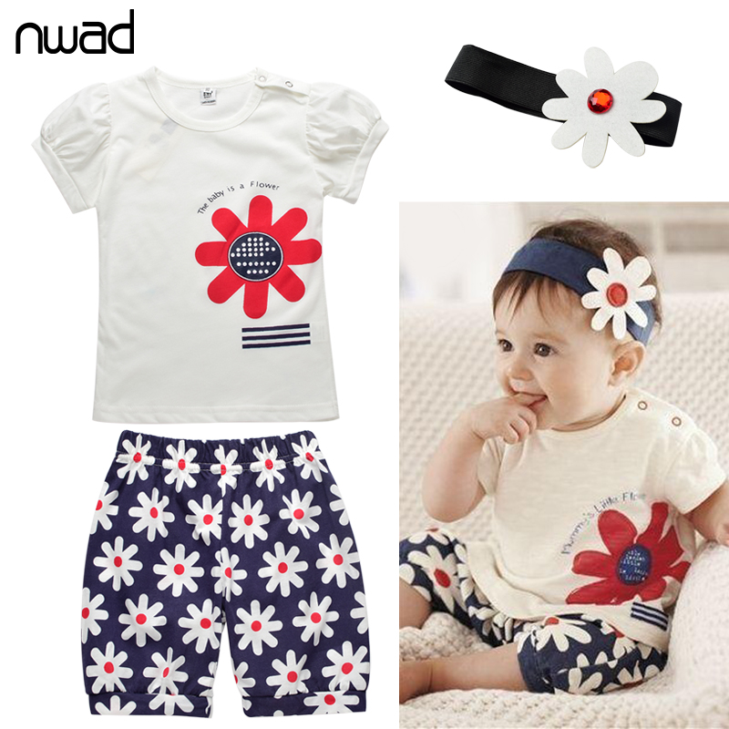 Brand Newborn Baby Girl Outfits Infant Flower Print Clothing Baby Girl Summer Clothes Set Sleeve Tops+Pants+Headband FF102(China (Mainland))