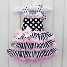 2016 New arrival summer Baby dress infant tutu girl dress lace pettiskirts cake dress pink dress(China (Mainland))