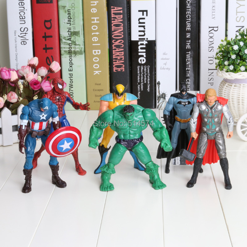 """The Avengers 5"""" Captain America Wolverine Thor Spiderman Batman 14cm Action Figures Toy 6 pcs/lot free shipping(China (Mainland))"""