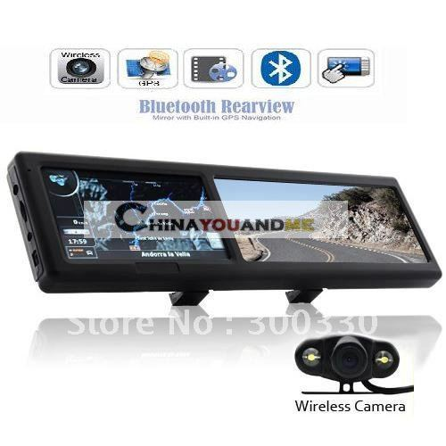 4.3 Inch  car gps Navigator Bluetooth Rearview Mirror with Wireless camera  GPS4309