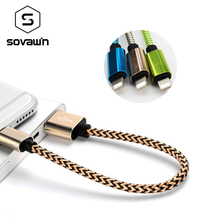 Buy Sovawin Fast Charging 8pin Charge Cable 21cm Nylon Short Data Sync Mobile Phone Charger Lightning iPhone 6 7 IPad for $1.43 in AliExpress store