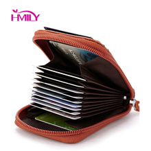 Best selling Men&Women's 100% genuine cow leather Expandable credit card&id holder bag wallet fashion card holder mini wallet(China (Mainland))