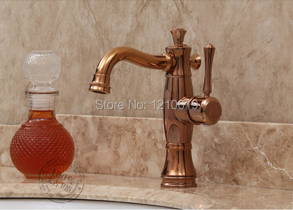 Фотография Newly US Free Shipping Deck Mounted Euro Stylish Bathroom Basin Faucet Rose Gold Finished Vintage Style Single Handle Mixer Tap