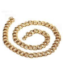 hiphop gold necklaces & Pendants for men bi-color statement collier texture chain  punk collare jewelry choker femme unique8.6mm(China (Mainland))