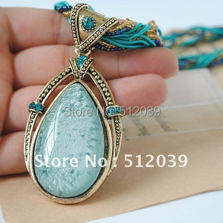 Merry Christmas! High Quality Fashionable Turquoise Drop Pendant Necklace Personalized  Statement Jewelry Best Selling In Europe