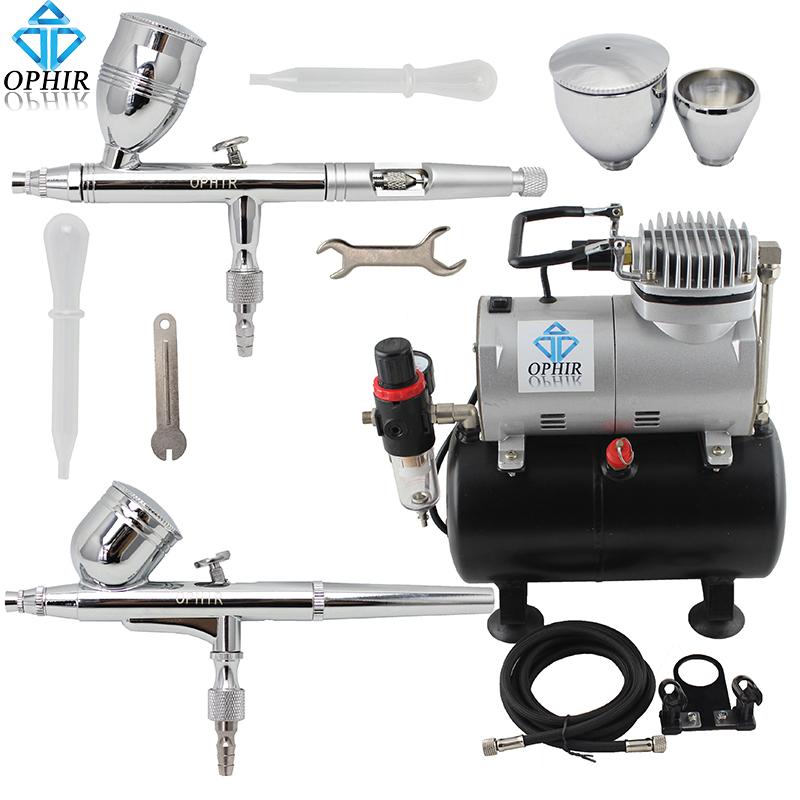 OPHIR 0.3mm 0.5mm Airbrush Guns Gravity Dual-Action Airbrush Kits Tank Air Compressor for Makeup Tanning Body_AC090+AC004A+AC006(China (Mainland))