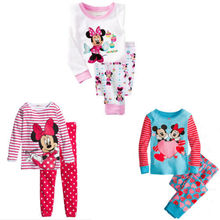 Lovely Cartoon 2015 Tops Pants Suit Baby Girls Nightwear Pajamas Homewear