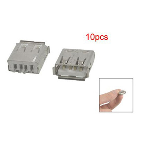 10 Pcs Straight Solder Type USB A Female Plug Jack Connector Wonderful Gift(China (Mainland))