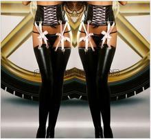 2016 nouvelles femmes Sexy extensible Lingerie noir Faux cuir Lace Up Leggings Wet Look Fashion Clubwear gothiques pantalons livraison gratuite
