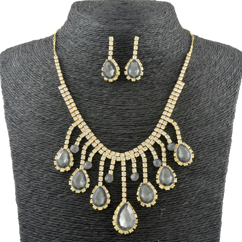 Vingtage Bridal Jewelry sets Water Drop 6 colors Gem Necklace+Drop Earrings Austrian Crystal Accessory Woman Wedding set()