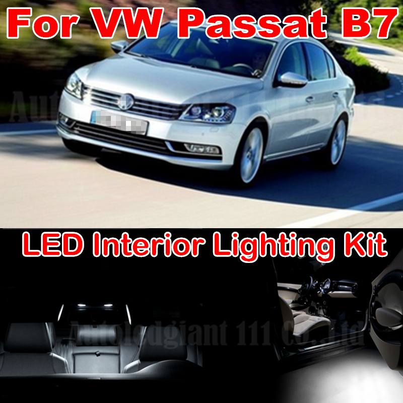 13pieces Pure White Canbus Error free W5W 36MM C5W Dome Light Volkswagen VW Passat B7 LED Interior Package kit 2012+  -  WLJH Autoparts Store store