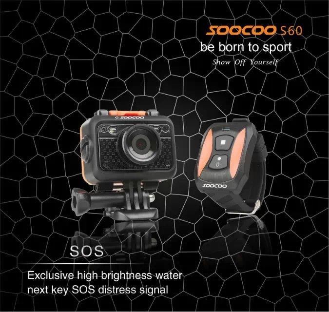 Original SOOCOO S60 12MP 1080P Sports Action Video Camera Waterproof 60m SOS Anti- Shake 170 Degree Wide Angle WiFi 1.5 inch - Shysky Tech Co., Ltd store