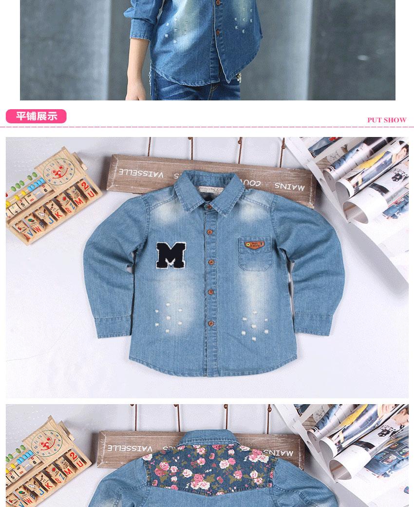 Korean Denim Tops Autumn Fashion Blouse Shirts Long Sleeve Cotton Denim Children Clothes Casual Printing Girls Denim Top Shirt