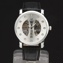 new 2014 fashion hot sale winner skeleton men rhinestone leather strap sport military mechanical hand wind