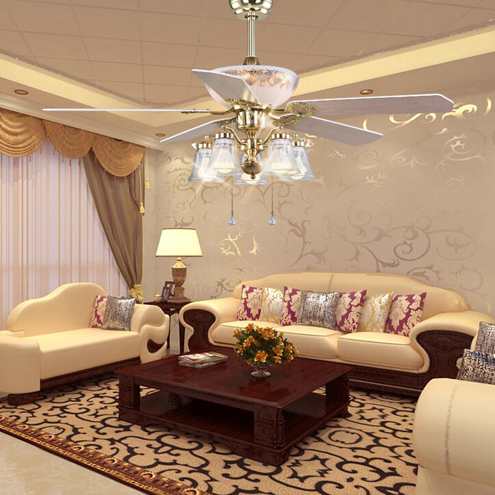 52 Inches European Style Fashion Ceiling Fan Lamp Living Room Dining Room Led